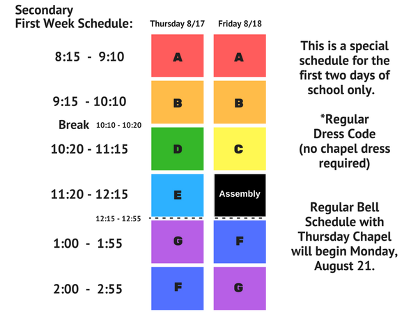 7th-12th: No Chapel (Friday Bell Schedule)