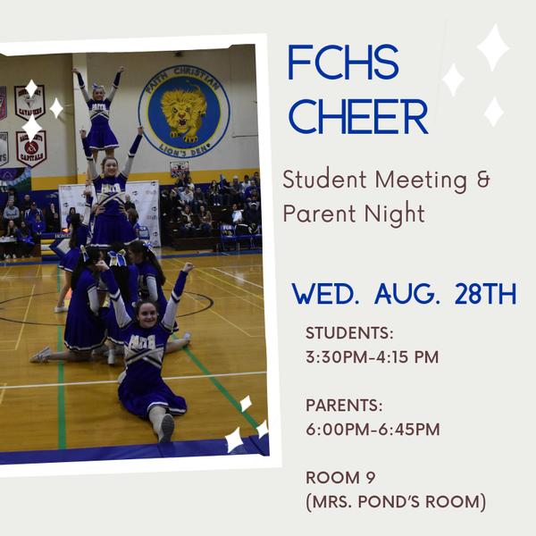 FCHS Cheer Parent Meeting: Rm 9