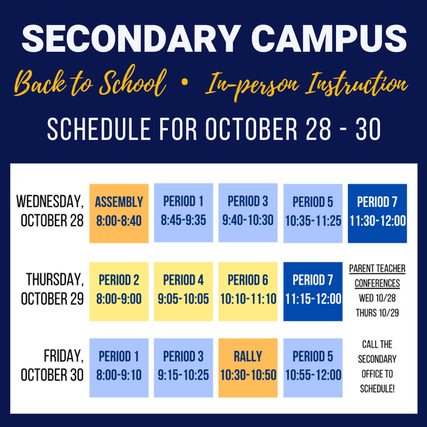 Secondary: In-Person Learning Begins (Tentative)