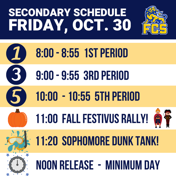Secondary: Block A Schedule